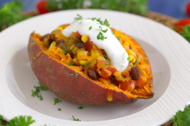 Microwave pressure cooker Taco Stuffed Baked Potato