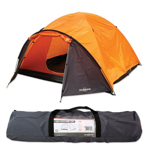 Features of the Milestone Camping Super Dome Two Person Tent – Orange